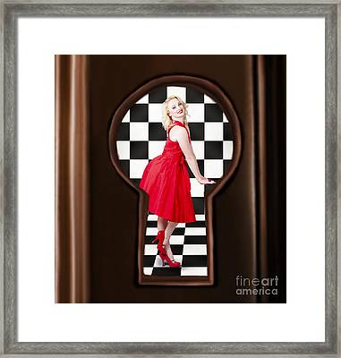 Keyhole Retro Fashion Portrait Of Stylish Girl Framed Print