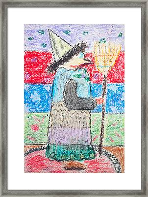Kid's Drawing Of Witch With Broom Framed Print