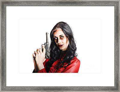 Killer Female Zombie With Hand Pistol Framed Print by Jorgo Photography - Wall Art Gallery