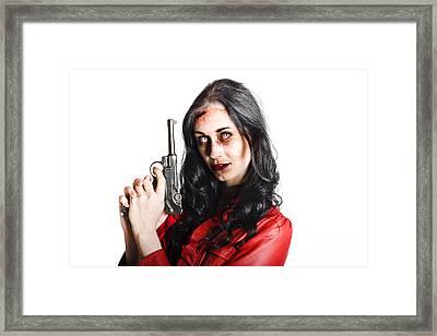 Killer Female Zombie With Hand Pistol Framed Print