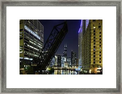 Kinzie Street Railroad Bridge At Night Framed Print