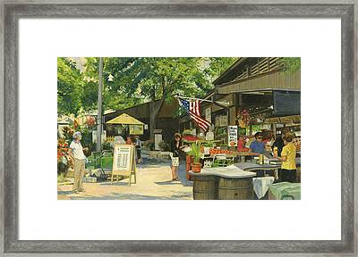 Kirkwood Farmers Market American Flag Framed Print by Don  Langeneckert