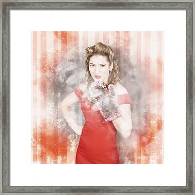 Kitchen Pin-up Girl Expressing Cooking Stress Framed Print by Jorgo Photography - Wall Art Gallery