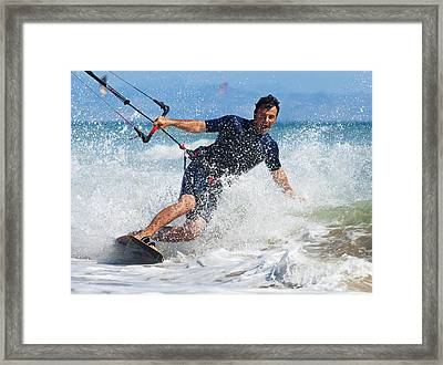 Kite Surfing In Front Of Hotel Dos Framed Print