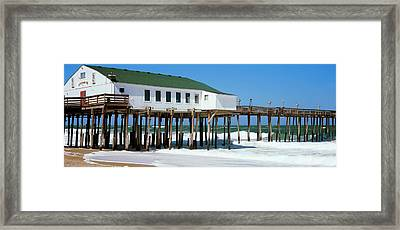 Kitty Hawk Pier On The Beach, Kitty Framed Print