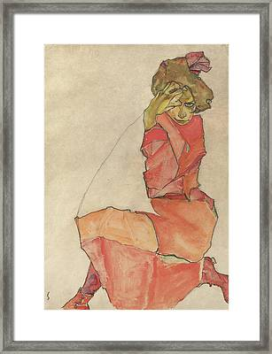 Kneeling Female In Orange-red Dress Framed Print by Celestial Images
