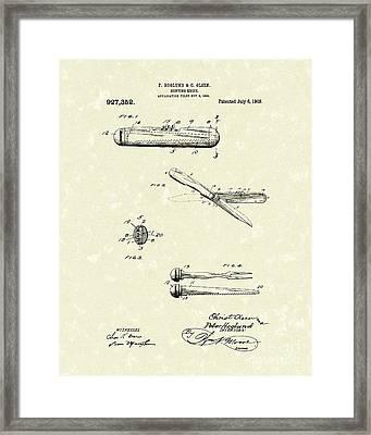 Knife 1909 Patent Art Framed Print