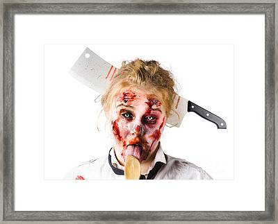 Knifed Woman Licking Spoon Framed Print by Jorgo Photography - Wall Art Gallery