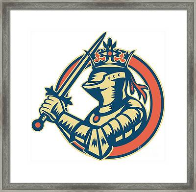 Knight Full Armor With Sword Retro Framed Print by Aloysius Patrimonio