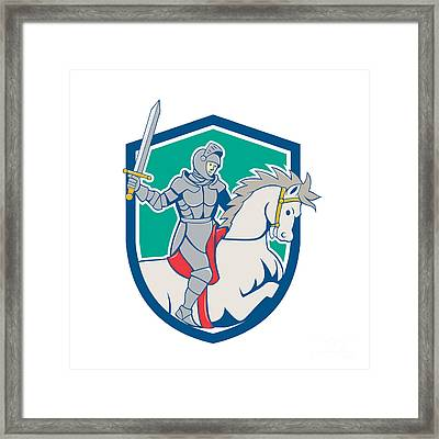 Knight Riding Horse Sword Cartoon Framed Print by Aloysius Patrimonio