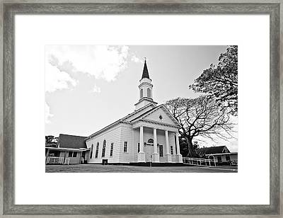 Koloa Church - Bw Framed Print