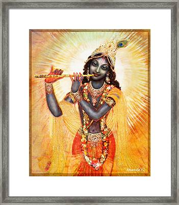 Krishna With The Flute Framed Print