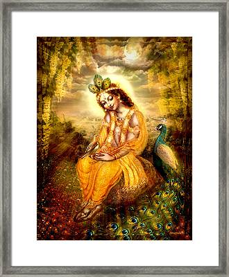 Krishna With The Peacock Framed Print by Ananda Vdovic