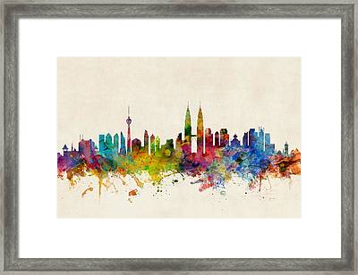 Kuala Lumpur Malaysia Skyline Framed Print by Michael Tompsett