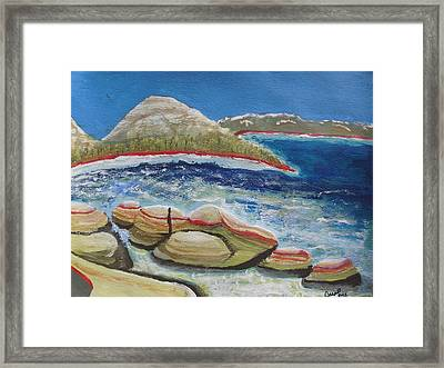 Framed Print featuring the painting Kudos To Kondos At The Lake by Carol Duarte