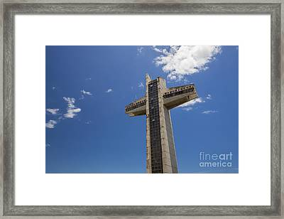 Framed Print featuring the photograph La Cruz Del Vigia Against Blue Sky In Ponce Puerto Rico by Bryan Mullennix