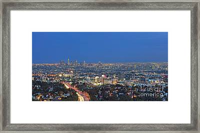L.a. Skyline Los Angeles Ca Cityscape Night Dusk Lit Lights On 3 Framed Print