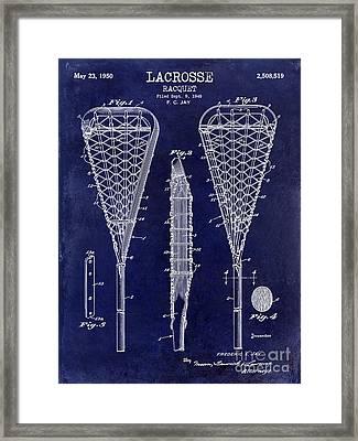 Lacrosse Racquet Patent Drawing Framed Print by Jon Neidert