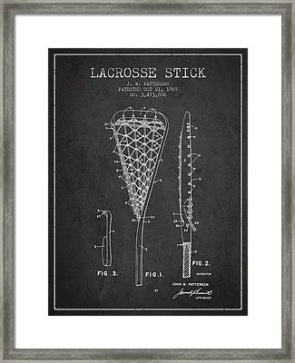 Lacrosse Stick Patent From 1970 -  Charcoal Framed Print by Aged Pixel