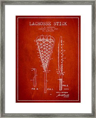 Lacrosse Stick Patent From 1970 -  Red Framed Print