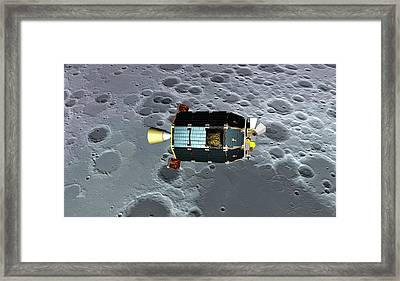 Ladee Spacecraft Over The Moon Framed Print by Nasa Ames/dana Berry