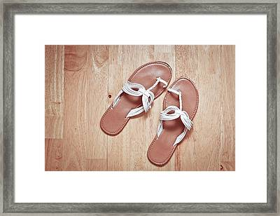 Ladies' Sandals Framed Print by Tom Gowanlock