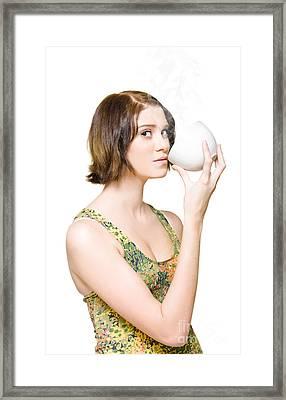 Lady Drinking Hot Green Tea Framed Print by Jorgo Photography - Wall Art Gallery