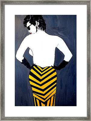 Framed Print featuring the painting Lady In Stripes by Nora Shepley
