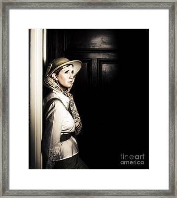 Lady In Vintage Attire At Night Framed Print by Jorgo Photography - Wall Art Gallery