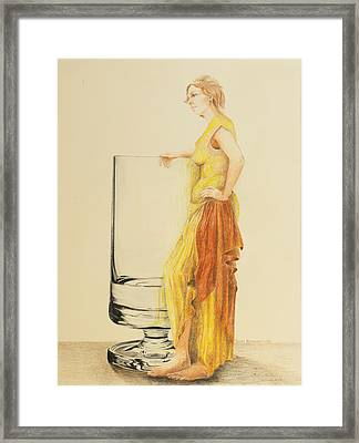 Lady With Glass Framed Print by Tamra Whitney