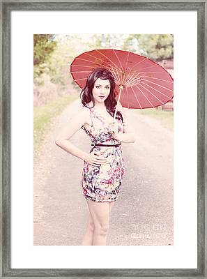 Lady With Red Parasol Framed Print