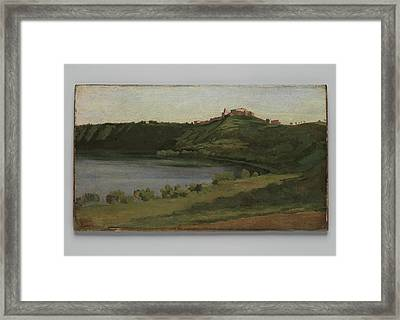 Lake Albano And Castel Gandolfo Framed Print by Camille Corot