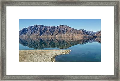 Lake Hawea With Reflections Framed Print by Nicola M Mora