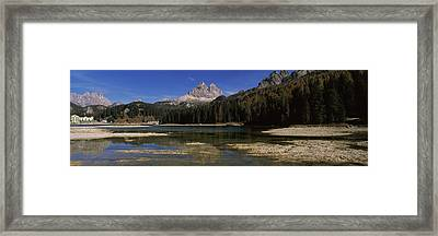 Lake With A Mountain Range Framed Print by Panoramic Images