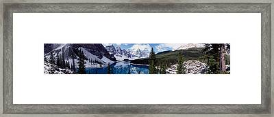 Lake With Snow Covered Mountains Framed Print by Panoramic Images