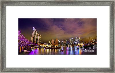 Landscaoe Of Singapore Business District  Framed Print