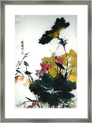 Framed Print featuring the painting Chinese Flower Brush Painting by Rose Wang
