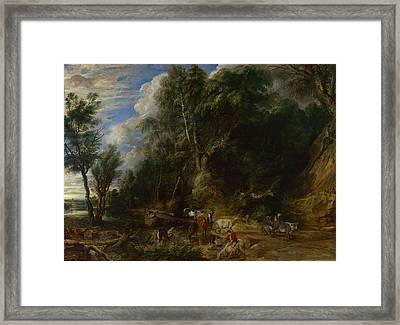 Landscape With A Man Killed By A Snake Framed Print by MotionAge Designs