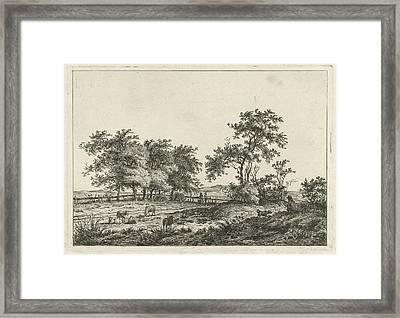 Landscape With Cartoonist And Dog, Hermanus Fock Framed Print by Hermanus Fock