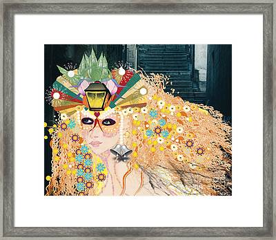 Framed Print featuring the digital art Lantern Fairy by Kim Prowse
