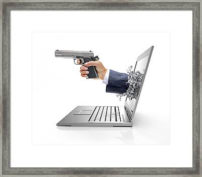 Laptop With Hand And Gun Framed Print by Leonello Calvetti