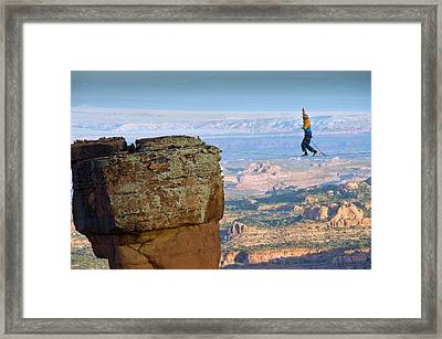 Larry Harpe Highlining (slacklining Framed Print by Howie Garber