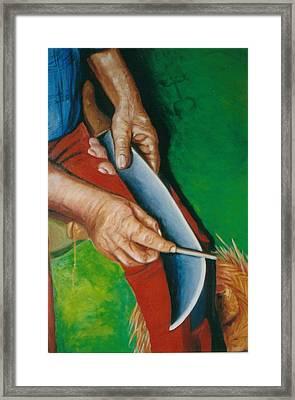 Las Manos De Mi Padre Framed Print by Mayra  Martinez