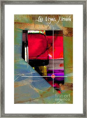 Las Vegas Nevada Map Watercolor Framed Print