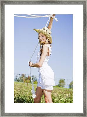 Lassoing Lady Framed Print by Jorgo Photography - Wall Art Gallery