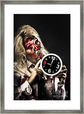 Late Zombie Woman Holding Clock. Passing Time Framed Print by Jorgo Photography - Wall Art Gallery
