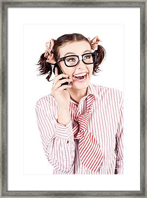 Laughing Nerdy Woman On A Smartphone Framed Print by Jorgo Photography - Wall Art Gallery