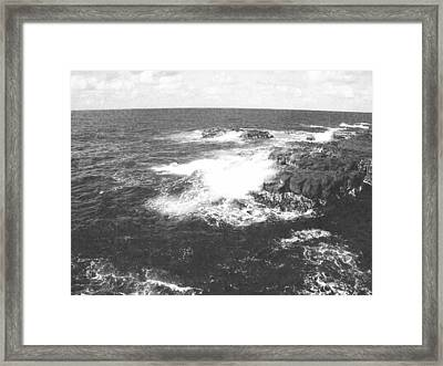 Lava And Surf Framed Print by Frank Wilson