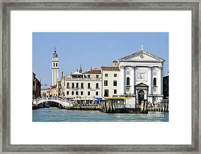 Leaning Campanile Of San Giorgio Dei Greci Church Framed Print