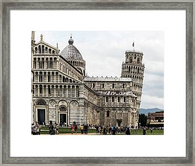 Leaning Tower Of Pisa And Cathedral Framed Print